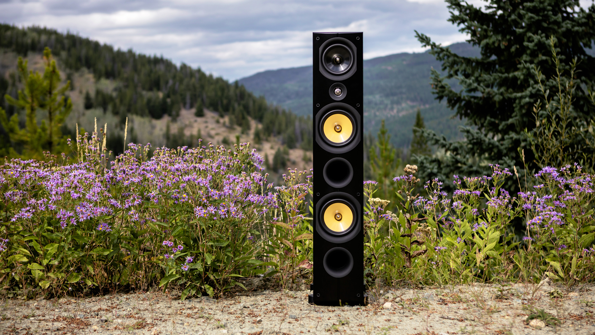 PSB Imagine X2T Tower loudspeakers outdoors in front of a hill